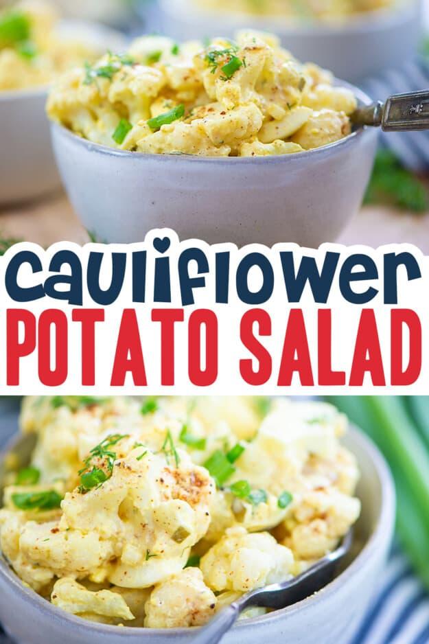 collage of cauliflower potato salad images.