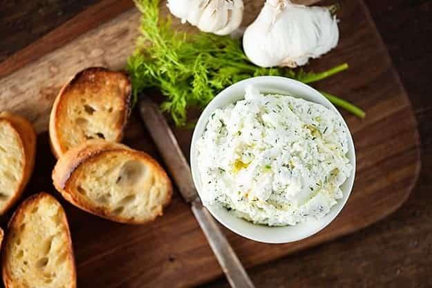 Garlic and Dill Ricotta Crostini