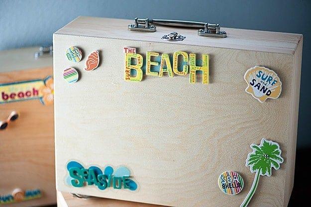 A decorated beach suit case