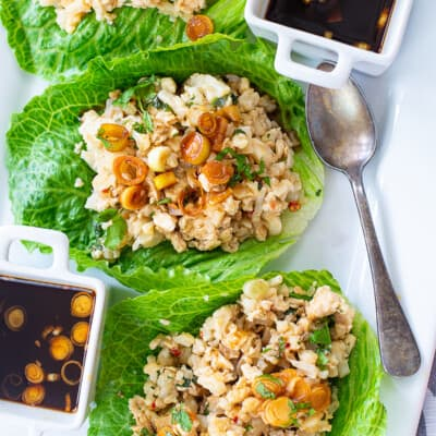overhead view of asian lettuce wraps on plate.
