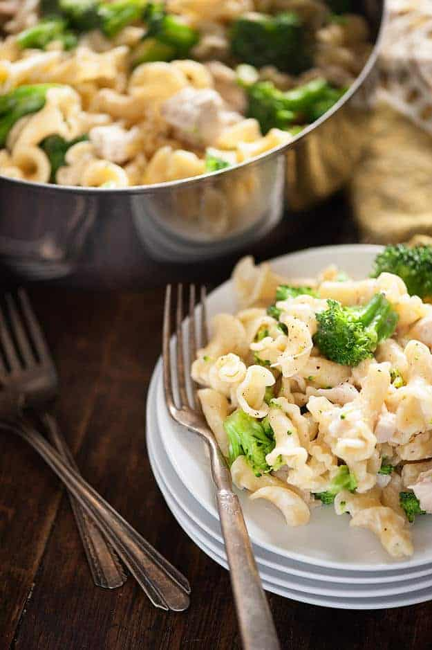 This chicken and broccoli pasta recipe is one of those easy dinner recipes you'll make again and again! It's ready in just 20 minutes!