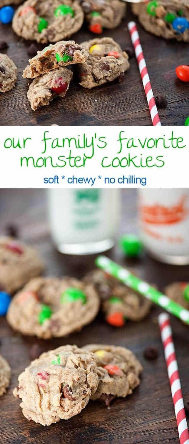 These monster cookie are our family's favorite recipe! They're easy to make and full of peanut butter, oats, and candy! You'll love this cookie recipe as much as we do!