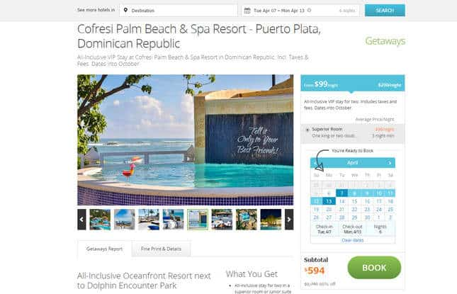 A web page for a resort