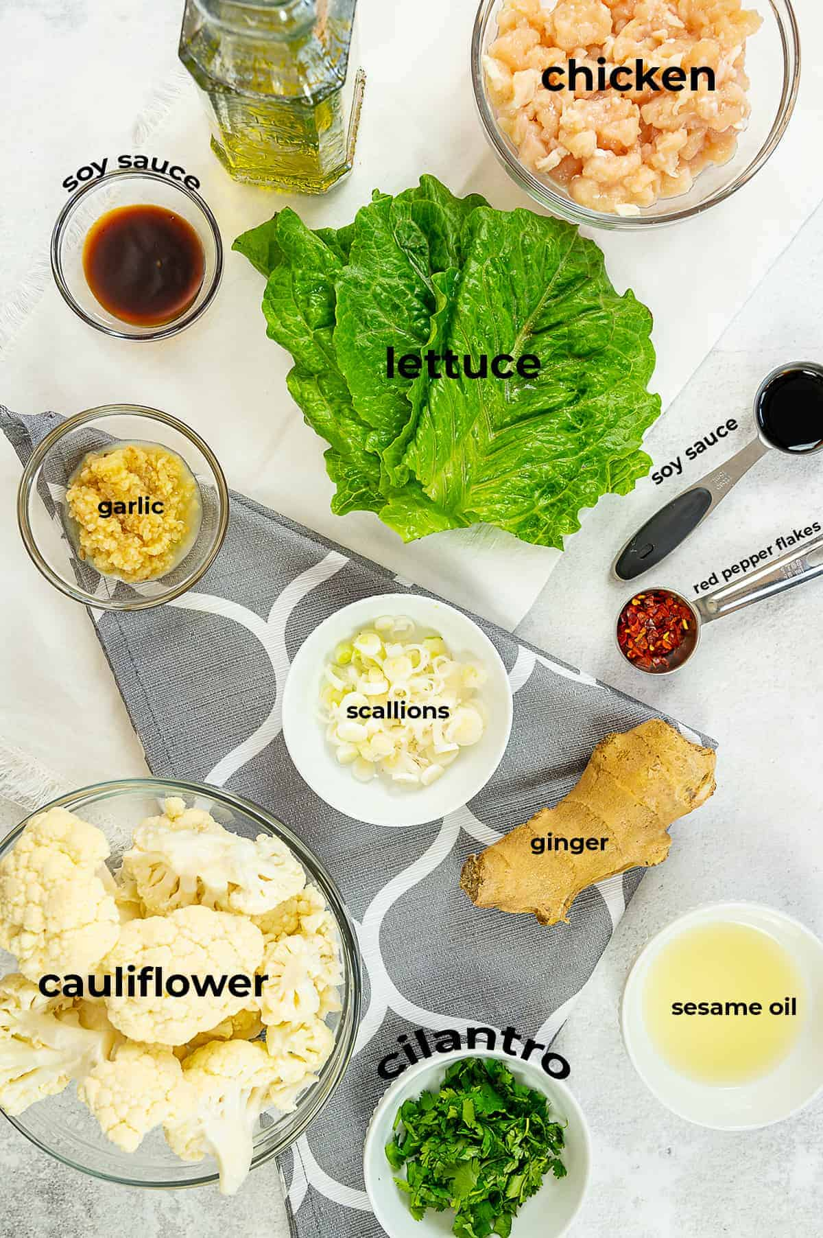 overhead view of ingredients for Asian lettuce wraps.