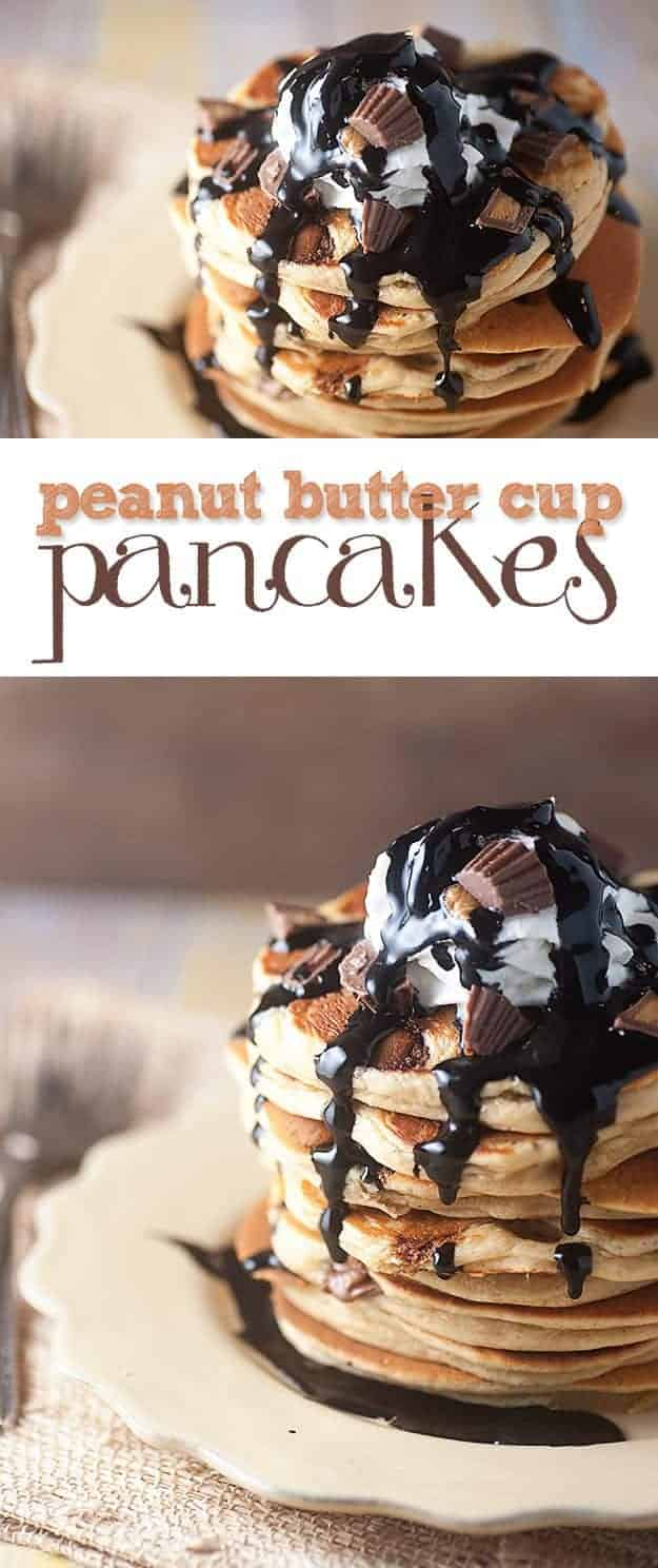 Pancakes topped with peanut butter cup chunks and chocolate syrup.