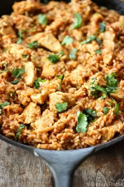 Skillet-Chicken-Mexican-Rice-with-SimplyGloria.com-OnePotMeal