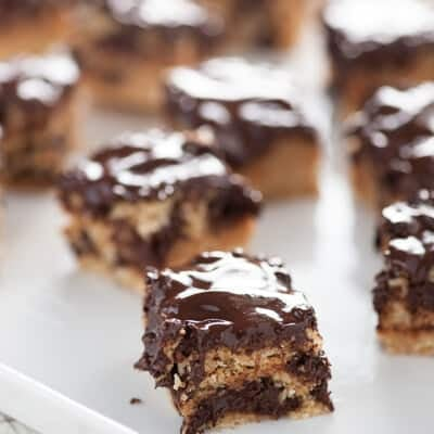 Several small square pieces of chocolate Ritz bars.