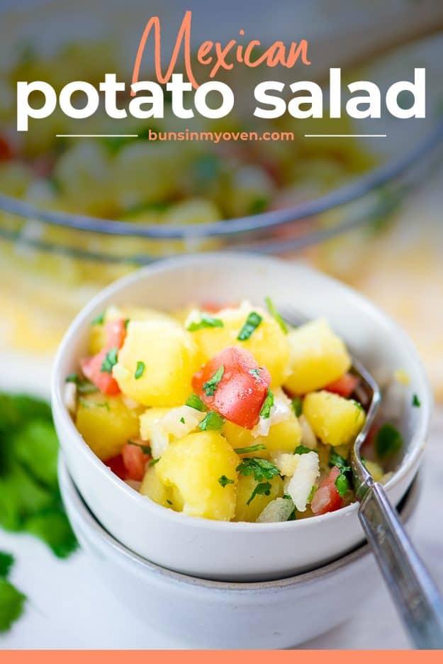 potato salad with pico de gallo in white bowls.