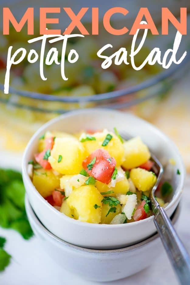 potato salad in white bowls for Pinterest.
