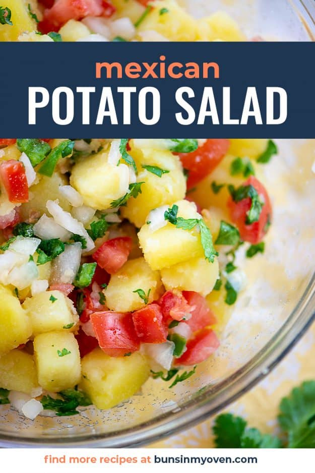 mexican potato salad in glass bowl.