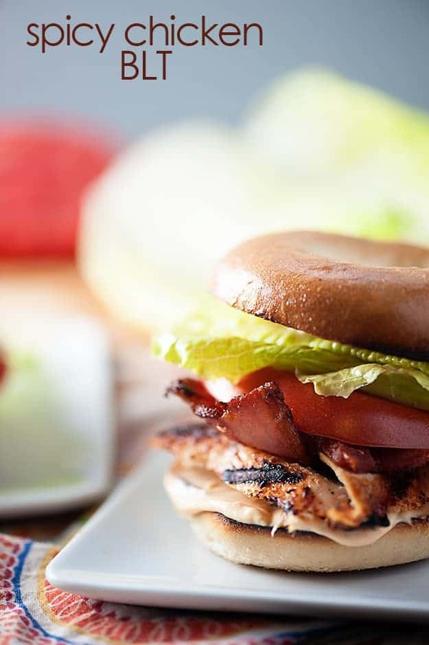 Spicy grilled chicken, bacon, lettuce, and tomato on a chewy bagel!