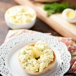 Horseradish Egg Salad on open faced bagels! We love this brunch recipe!
