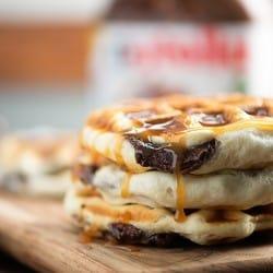 Waffles stuffed with Nutella!