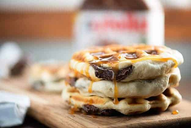Waffles stuffed with Nutella!