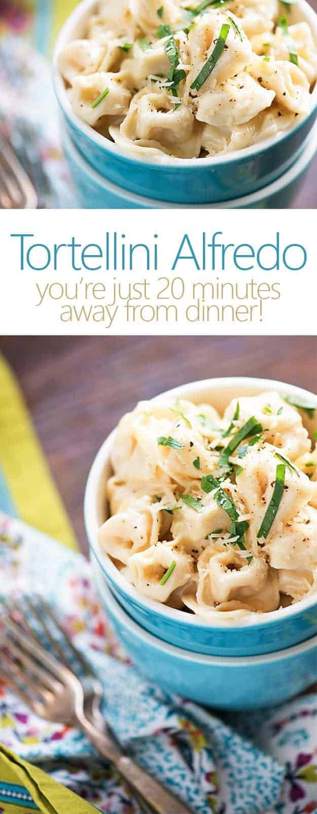 Just 20 minutes to make this tortellini Alfredo!