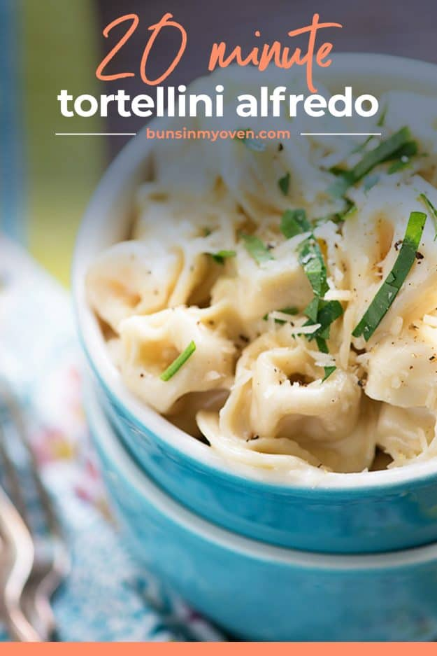 tortellini alfredo in blue bowl