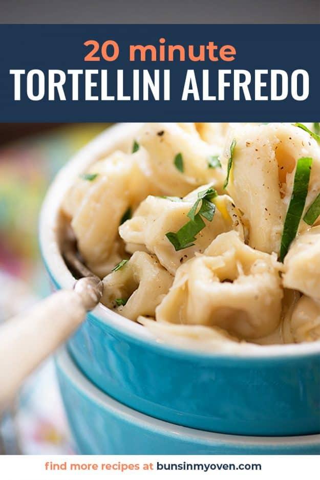 cheesy tortellini in blue bowls.
