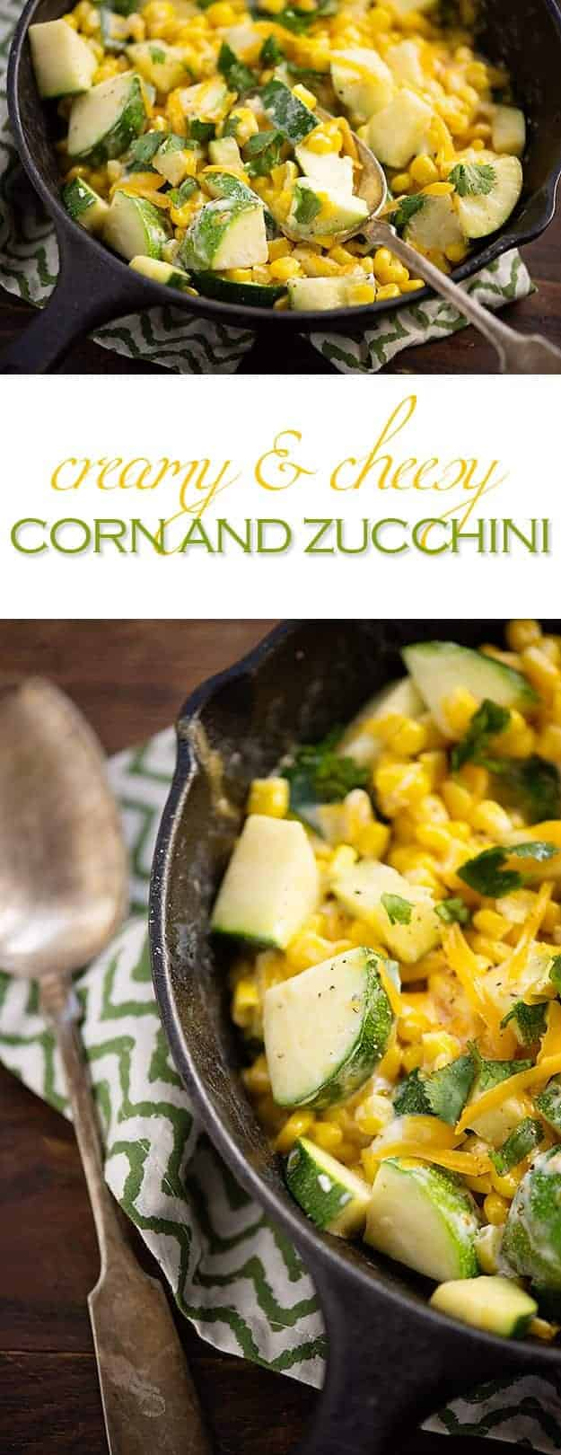 This zucchini and corn side dish is full of healthy vegetables! It's nice and creamy from the cheese and sour cream.
