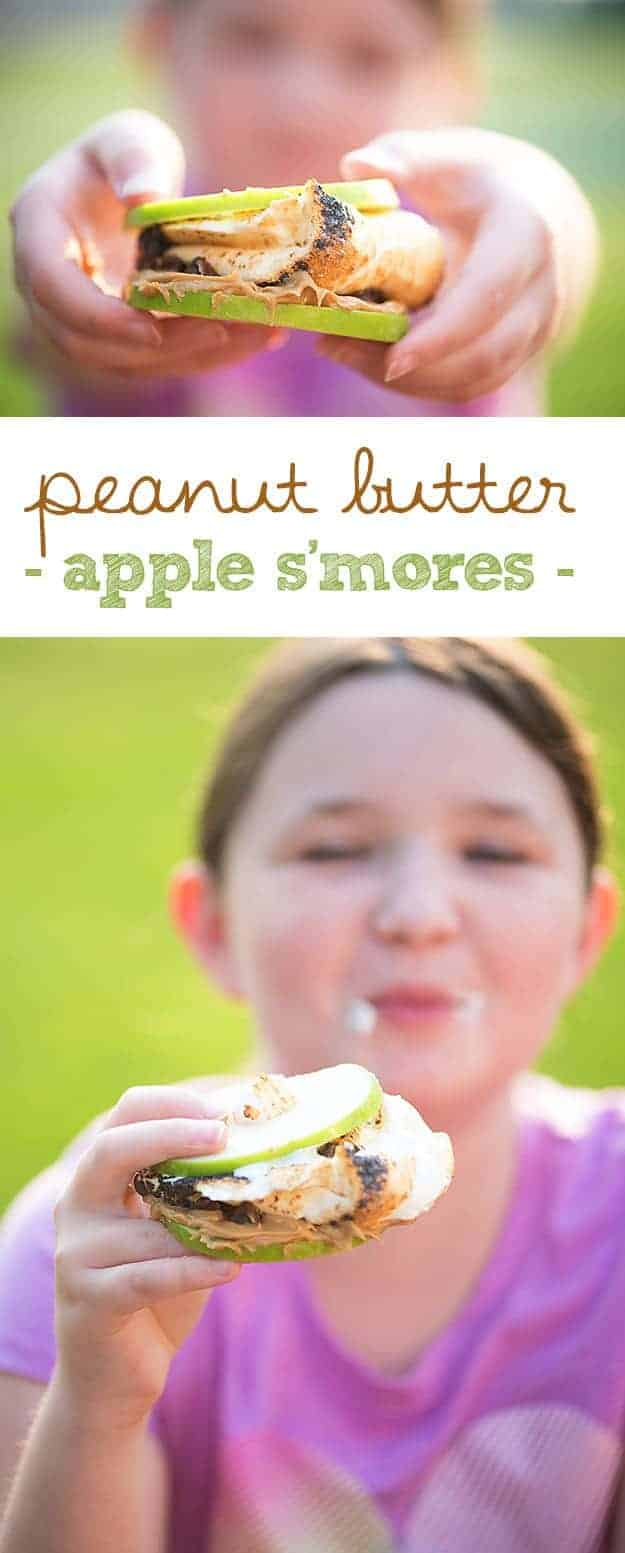 S'mores made with apple slices, peanut butter, and chocolate chips!