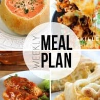 An easy weekly meal plan with dinner recipes plus dessert!