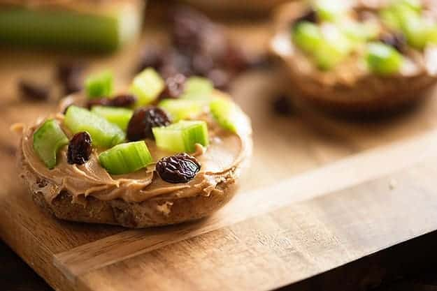 An easy school lunch or snack - ants on a log bagels!