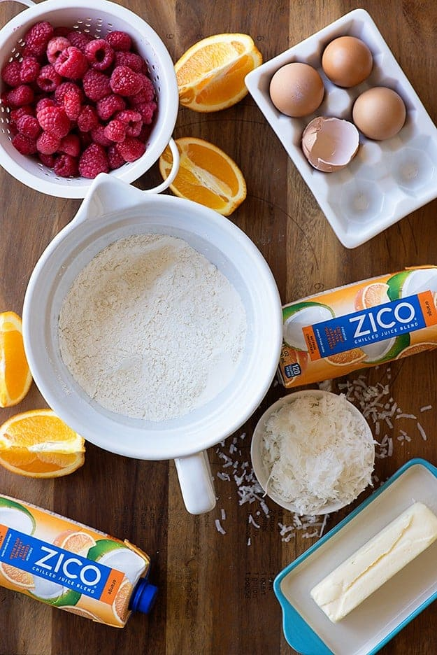 Coconut Orange Raspberry Quick Bread - super moist and full of bright citrus flavors! Made easy with ZICO Chilled Coconut Water and Orange Juice Blend!