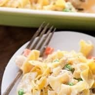 Creamy baked chicken noodle casserole! I love serving this comforting casserole recipe for family dinners!