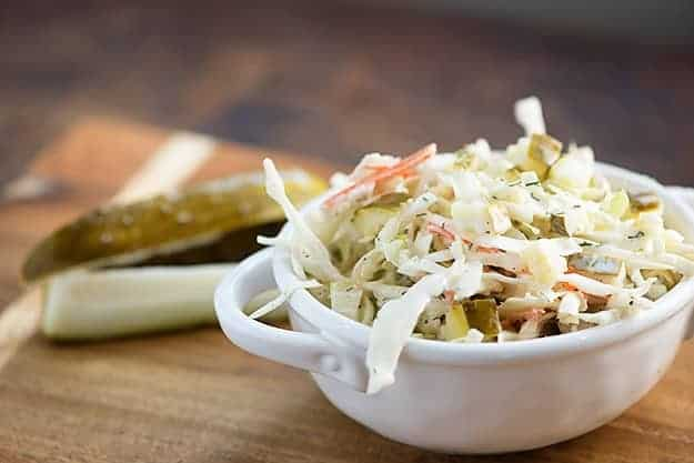 Dill pickle slaw - the perfect easy summer side dish! If you love dill pickles, you'll love this recipe!