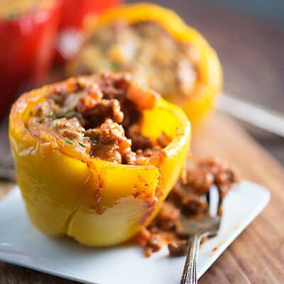 Peppers stuffed with sloppy joe sauce.