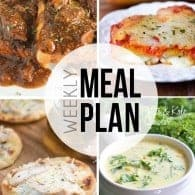 An easy weekly meal plan with lots of creative dinner recipes and desserts!
