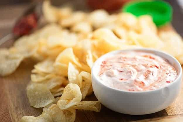 An easy dip recipe that's perfect for football games or a lazy night at home! Just two ingredients in this quick appetizer!