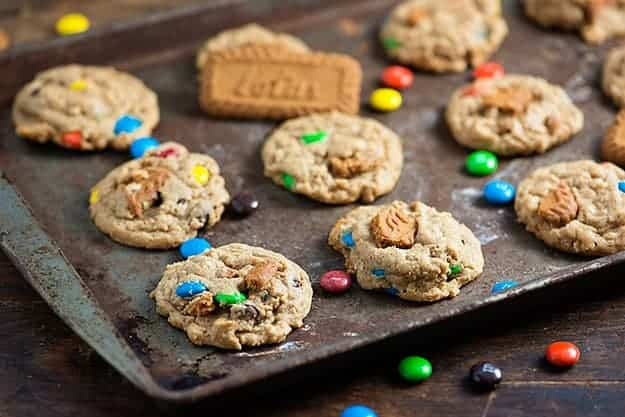 Biscoff Oatmeal Crunch Cookies - made with speculoos cookie butter and plenty of m&m candies!