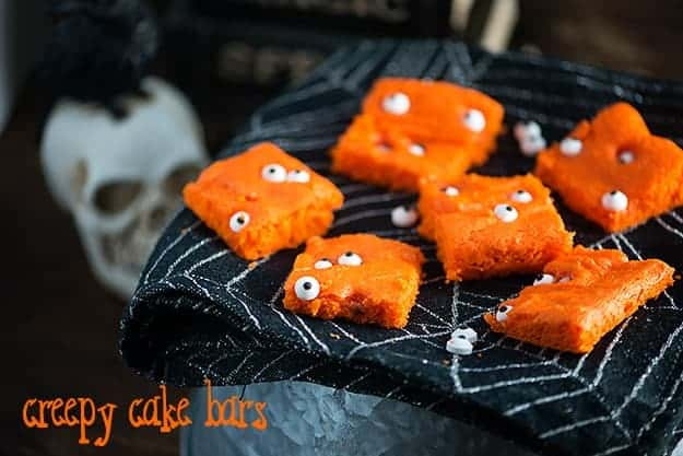 Creepy Cake Bars! The perfect Halloween snack cake for kids.