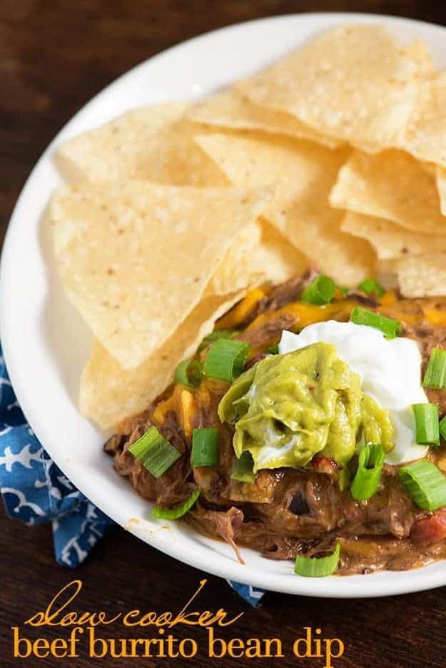 Crock pot bean dip! This dip tastes like a beef burrito! We love this football food!