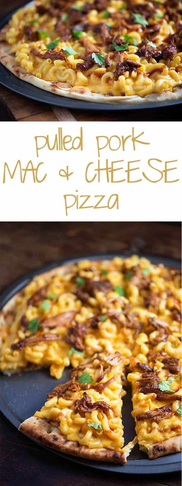Pulled pork mac and cheese in a pizza pan.