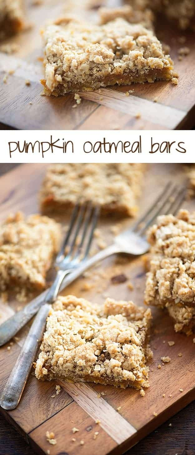 Oatmeal Pumpkin Bars - made with a simple oatmeal crust and filled with maple spiked pumpkin!
