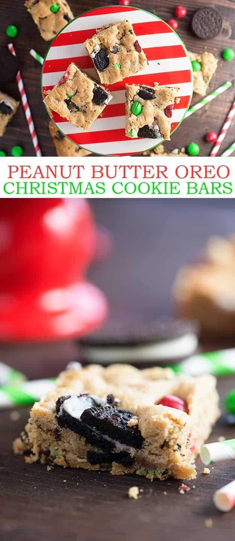 Peanut Butter Oreo Christmas Cookie Bars