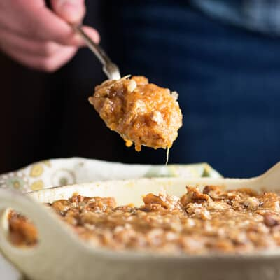 The best sweet potato casserole - creamy potatoes, and crunchy brown sugar pecans. This is the perfect holiday side dish! Make 'em for Thanksgiving or Christmas!