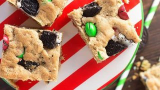 Peanut Butter Oreo Christmas Cookie Bars