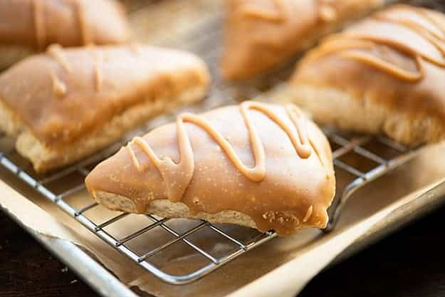 Maple Glazed Scones - fluffy moist scones topped with a thick maple glaze!
