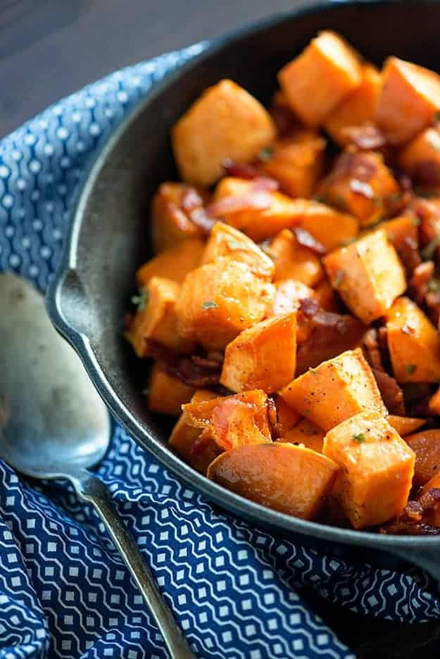 Maple Bacon Roasted Sweet Potatoes — Buns In My Oven