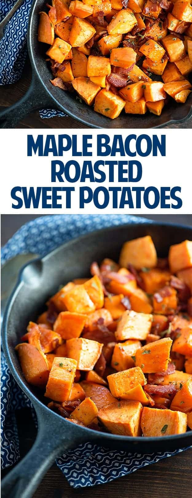 Maple Bacon Roasted Sweet Potatoes - ready in just 30 minutes and the perfect side dish for any family dinner. Even my kids like these!