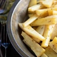 Honey Roasted Parsnip Fries -an easy holiday side dish for Thanskgiving or Christmas, but they also make a great weeknight side dish!