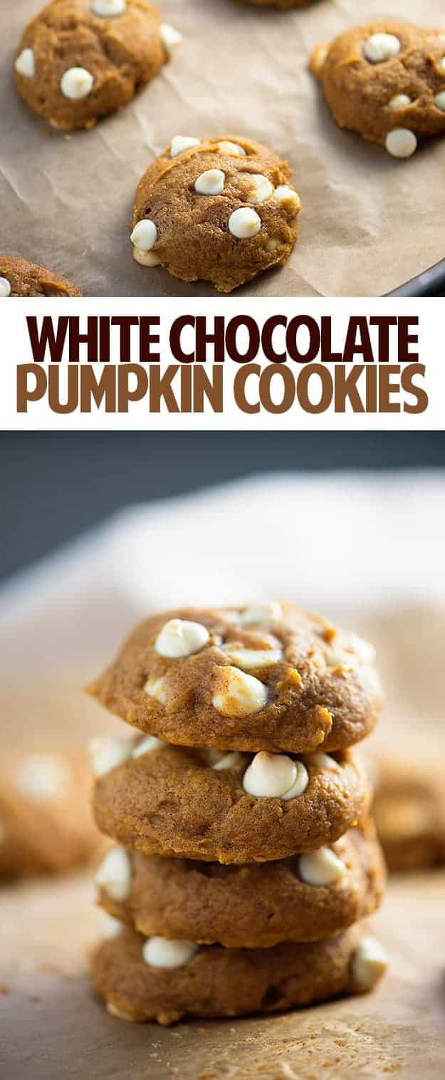 A close up of stacked white chocolate pumpkin cookies.