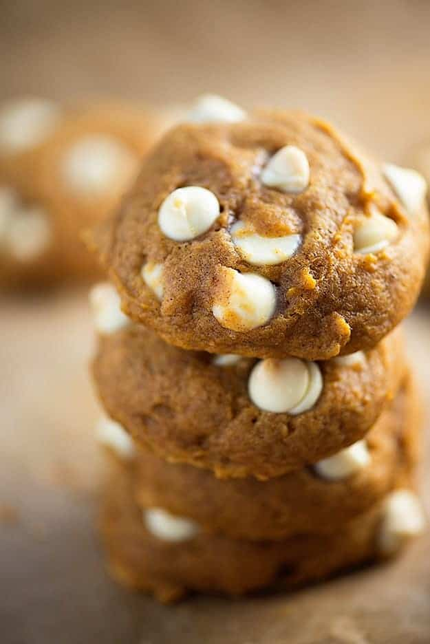 White chocolate pumpkin cookies stacked up.