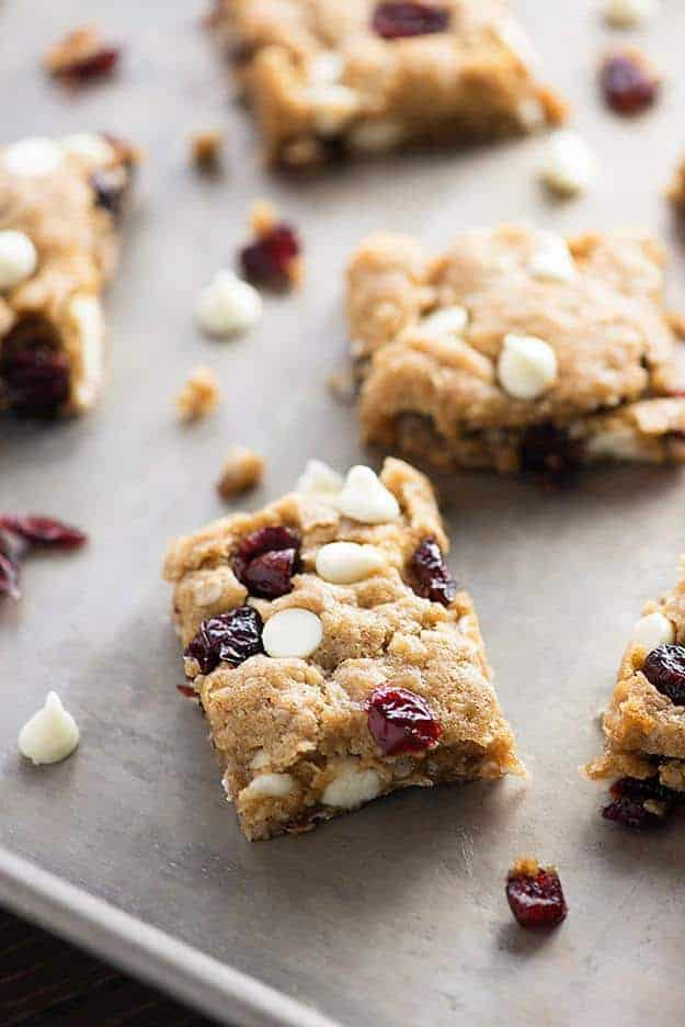 White Chocolate Cranberry Oatmeal Cookie Bars Buns In My