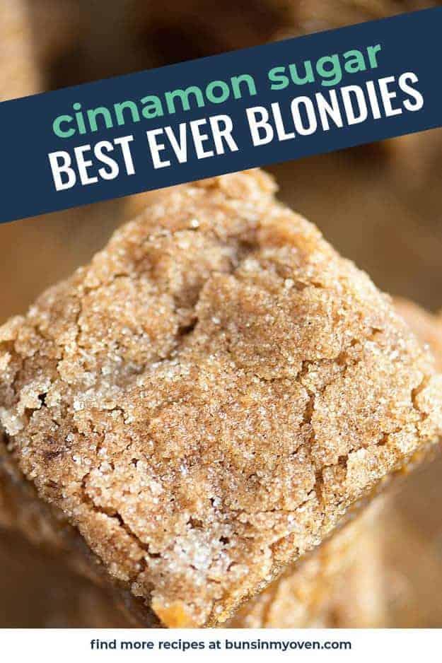 blondies with cinnamon sugar on top