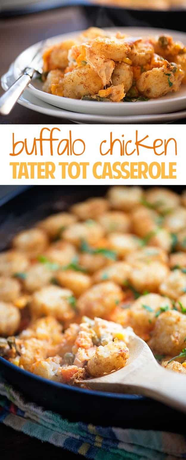 Buffalo Chicken Tater Tot Casserole - the classic casserole gets a spicy update!