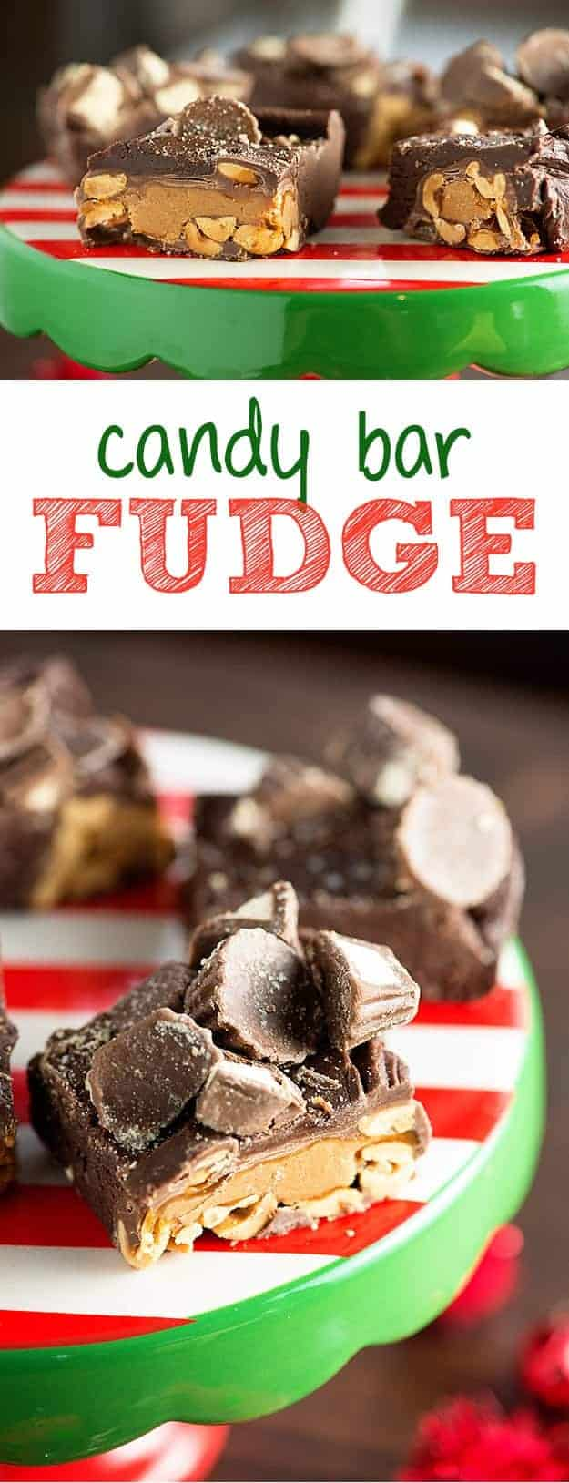 Candy Bar Fudge - so easy, no thermometer needed!