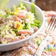 All the flavors of a country club sandwich chopped up into a simple salad! Even my kids love this salad for a quick dinner!